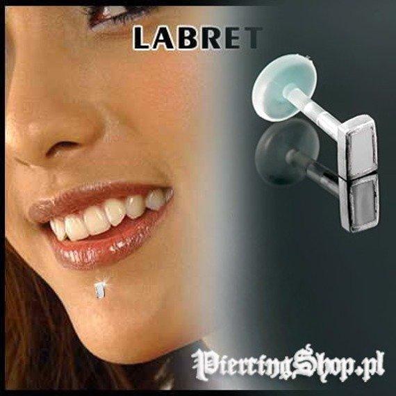 KOLCZYK DO BRODY LABRET(bioplast) PROSTOKĄT kolor oczka BIAŁY [LA-158]