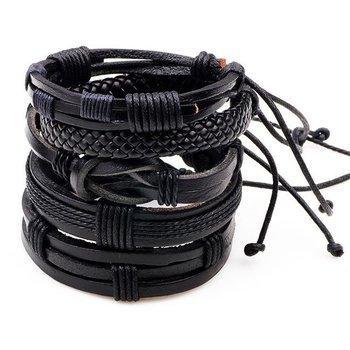 bransoletka BOHO BLACK, zestaw 5 bransoletek