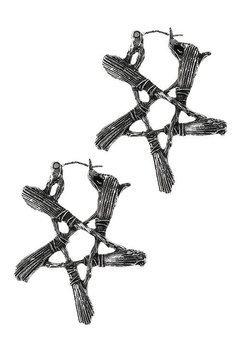 kolczyki BROOM PENTAGRAM silver, para