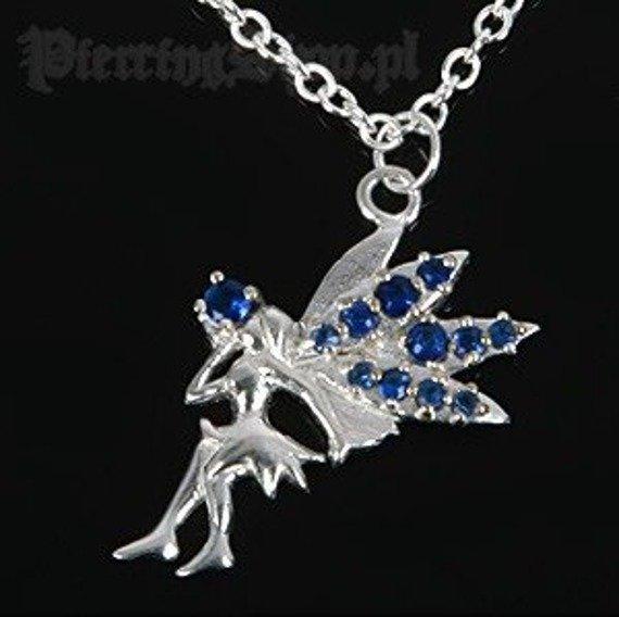 Srebrny łańcuszek WRÓŻKA oczko niebieskie [SPE-48]