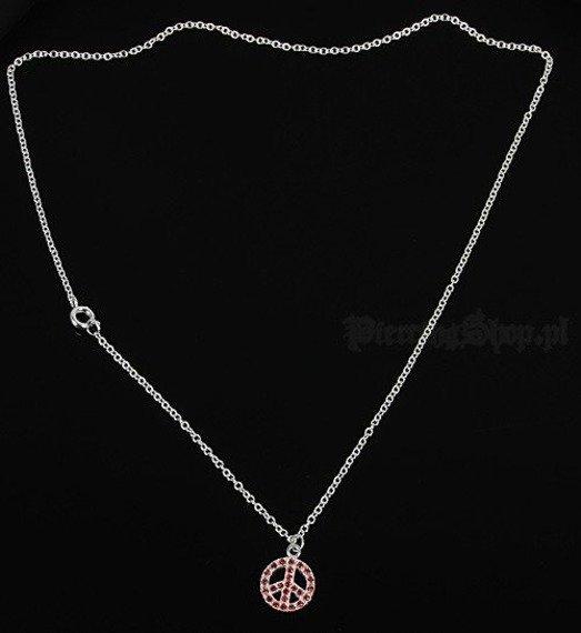 srebrny łańcuszek z wisiorkiem PACYFKA oczko czerwone [SPE-50]